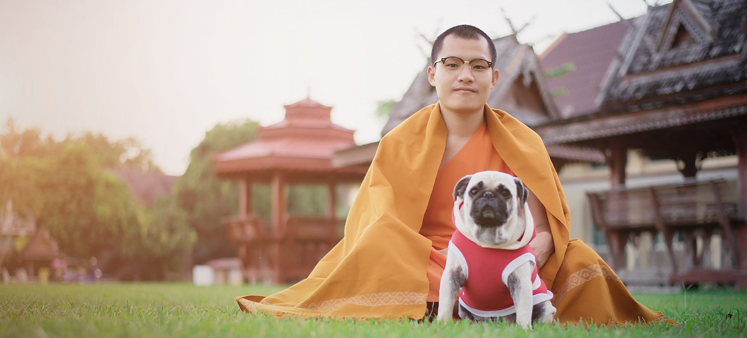 Monk with Pug