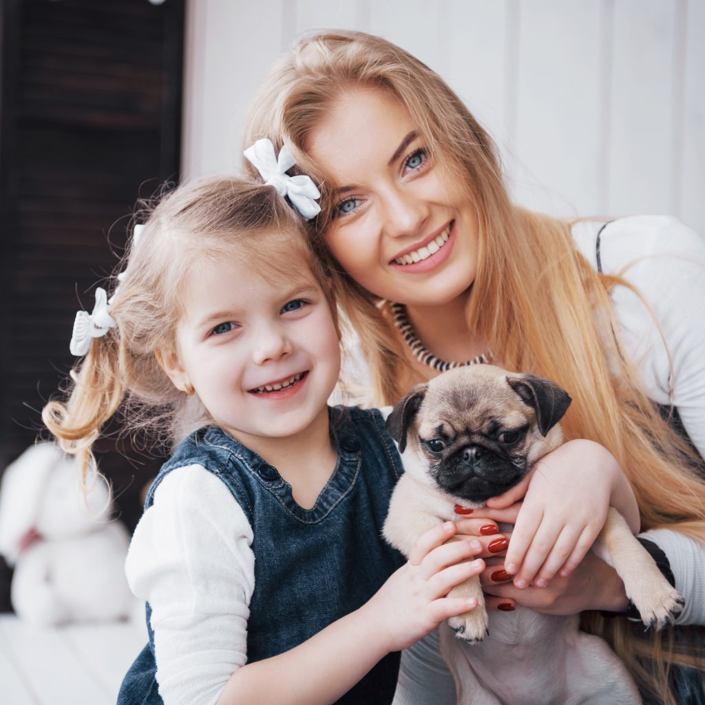 Family with Pug