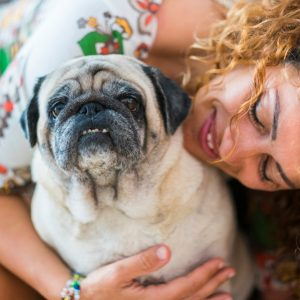 Old Pug with Woman