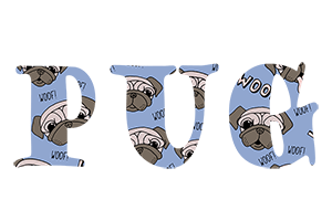 Pug Text Wallpaper 1 wide