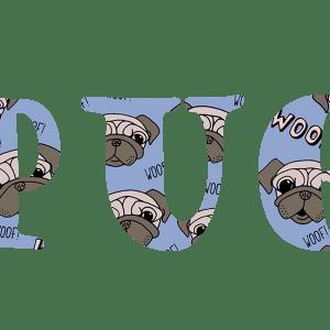 Pug Text Wallpaper 3 wide