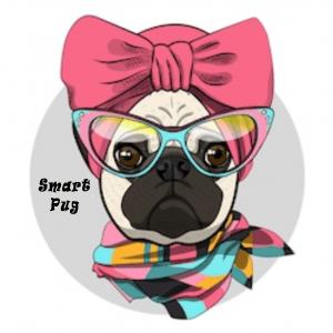 Smart Female Pug with Glasses