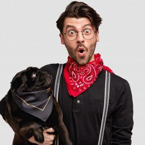 Surprised man black Pug